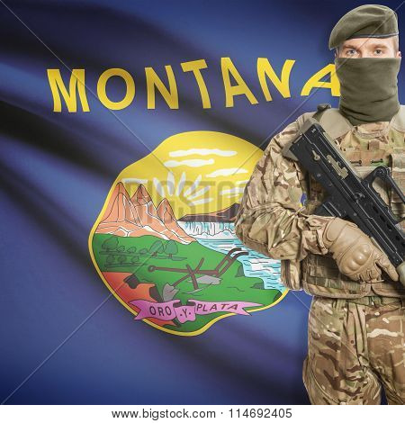 Soldier Holding Machine Gun With Usa State Flag On Background Series - Montana