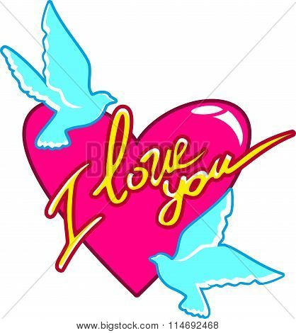 Valentine, two turquoise peace dove around a red heart with inscription I love you