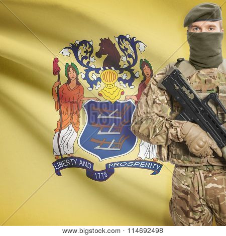 Soldier Holding Machine Gun With Usa State Flag On Background Series - New Jersey