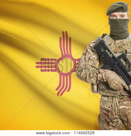 Soldier Holding Machine Gun With Usa State Flag On Background Series - New Mexico