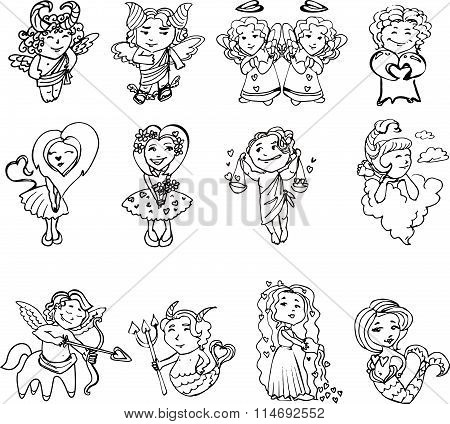 Set of Cupids with hearts on Valentine's day, in black and white. Zodiac signs stylized Valentine's