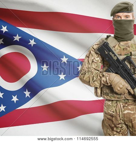 Soldier Holding Machine Gun With Usa State Flag On Background Series - Ohio