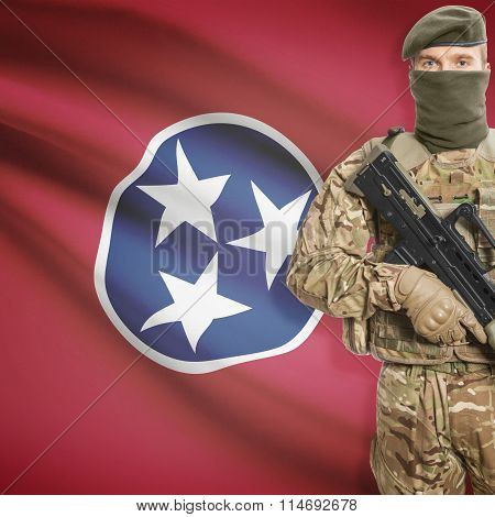 Soldier Holding Machine Gun With Usa State Flag On Background Series - Tennessee