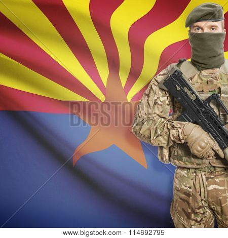 Soldier Holding Machine Gun With Usa State Flag On Background Series - Arizona