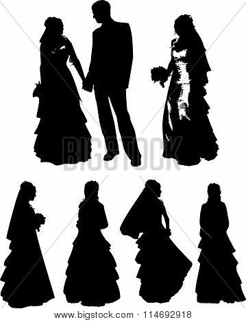 Vector set of black silhouettes of a young girl and man with beautiful hairstyle