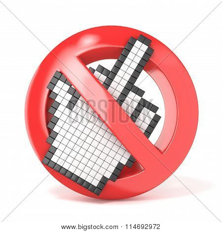 Forbidden sign with middle finger cursor. 3D
