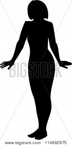 Black silhouette of a young girl in full growth. A girl's hands down and apart on a white background