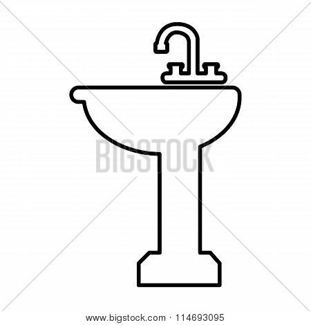 Bathroom sink line icon
