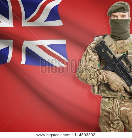 Soldier Holding Machine Gun With Canadian Province Flag On Background Series - Manitoba