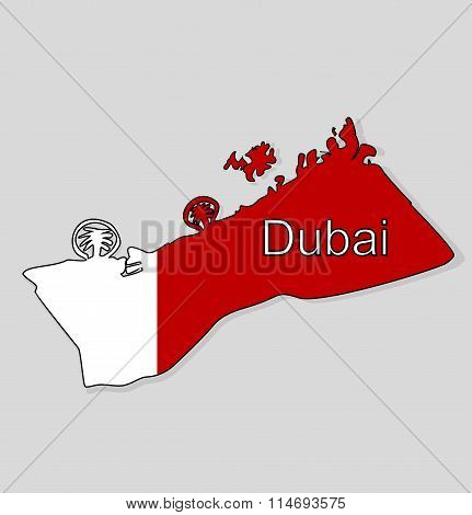 Map. UAE. Map with the background of the flag of the city