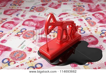 Pumpjack And Spilled Oil On Chinese Yuan