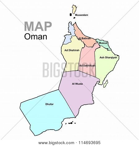 Oman, vector. Map divided by region. Administrative division.