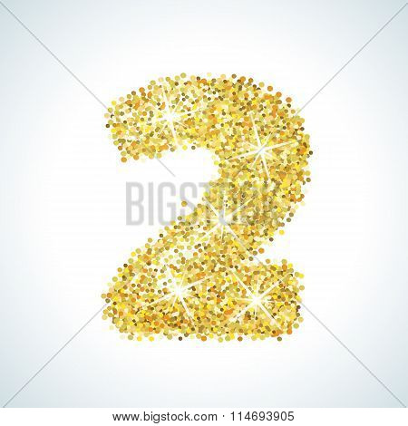Two number in golden style. Vector illustration gold design