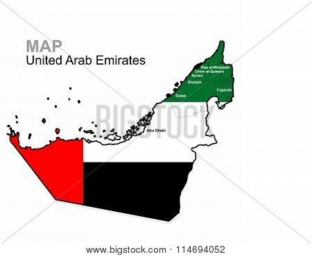 UAE, vector. United Arab Emirates Map divided by region. Administrative division