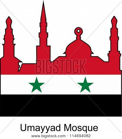The Umayyad mosque and flag of Syria