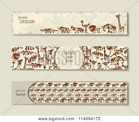 Set of banners with creative animals Africa