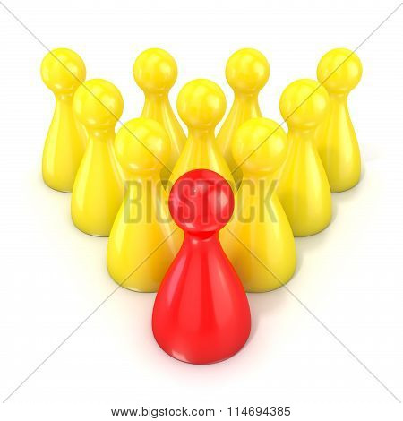 Leadership concept. One red board game piece in front of group of yellow. 3D