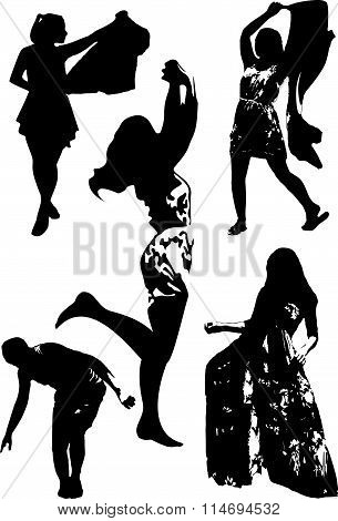 Vector set of black silhouettes of girls in various poses of movement, dance, standing in full growt