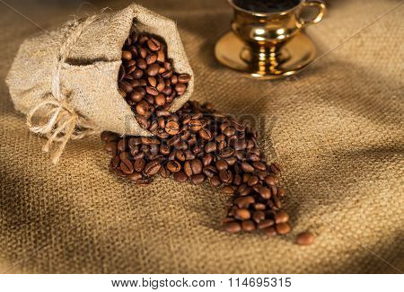 Coffee Beans Poured Out Of The Bag