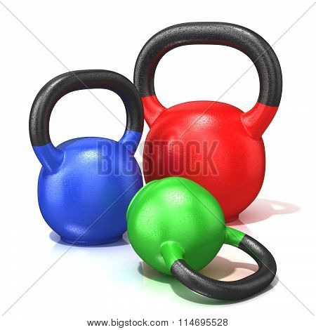 Red green and blue kettle bells weights