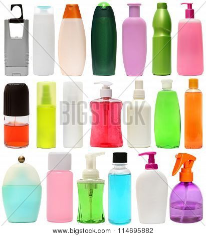 cleaning equipment .20 colored plastic bottles with Detergent is