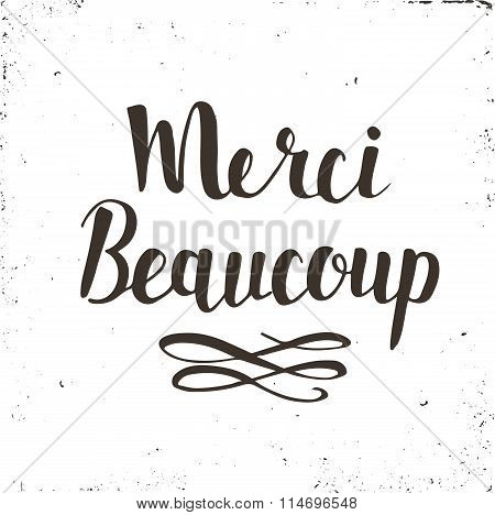 Merci Card. Hand Drawn Brush Lettering.