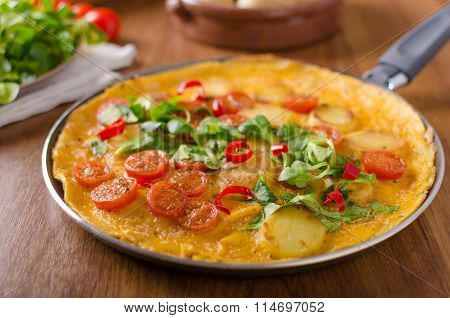 Frittata With Tomatoes, Herbs And Chilli