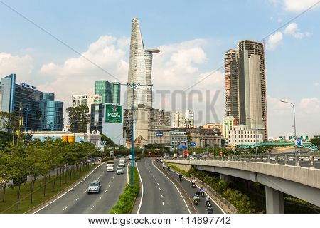 HO CHI MINH, VIETNAM - JAN 14, 2016: Views Bitexco Financial Tower, 68 floors (and 3 underground) area 100,000 square metr, is the third tallest building in Vietnam.