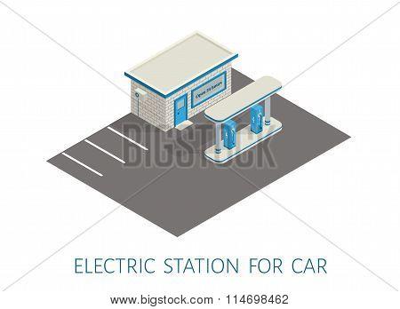 Isometric gas, electric filling station brickwork building road 3d illustration