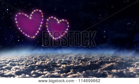 Outer Space Pink Hearts Star