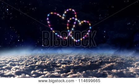 Outer Space With Heart Star