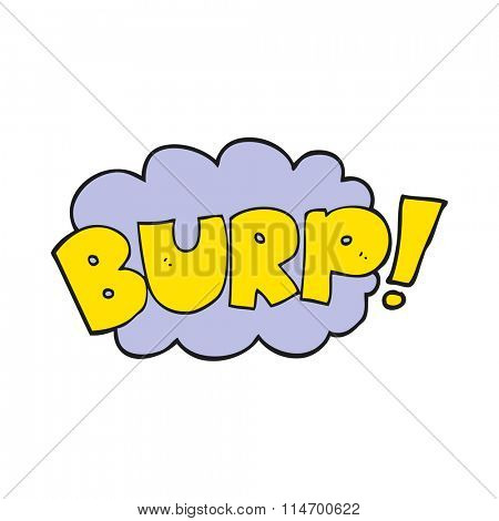 freehand drawn cartoon burp text