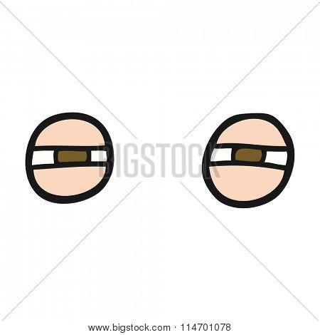freehand drawn cartoon suspicious eyes