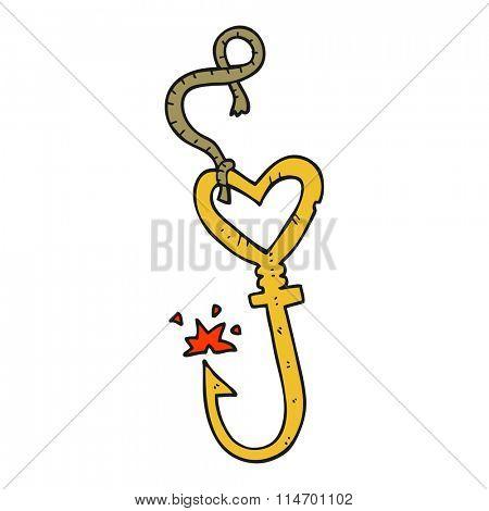 freehand drawn cartoon love heart fish hook