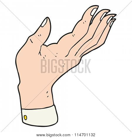 freehand drawn cartoon open hand raised palm up