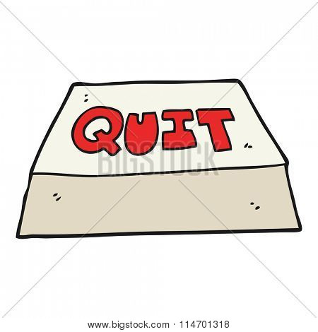 freehand drawn cartoon quit button