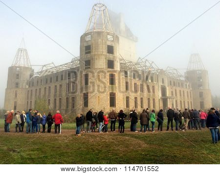 Almere Castle at a foggy morning- Modern contemporary Ruin