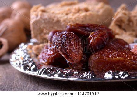 Oriental sweet on wooden background