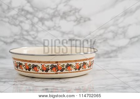 Yellow Vintage Enamel Plate With Flower Design