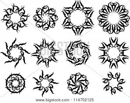 Tribal Tattoo Sun, Flame Tribal Design Vector Illustration
