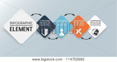 Element For Infographic Chart Template Geometric Figure Square In Sequence