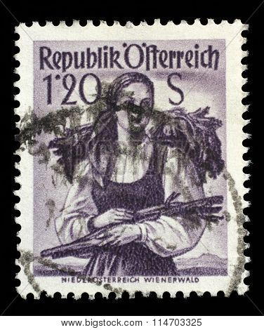 AUSTRIA - CIRCA 1949: A stamp printed in Austria shows image woman in national Austrian costumes, Lower Austria, Wienerwald, series, circa 1949.