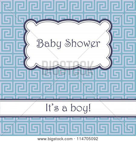 Background with greek pattern baby shower