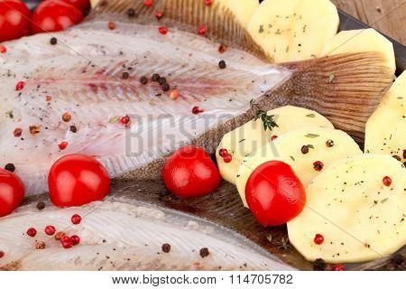 Closeup Of Skinned Turbot Fish