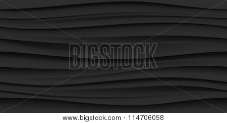 Black seamless texture. Wavy background. Interior wall decoration. 3D Vector interior wall panel pattern. Vector black background of abstract waves.