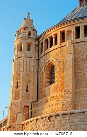 View of the historical Dormition Abbey on Mount Zion, Jerusalem, Israel