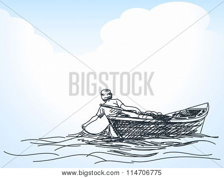 Sketch of man fishing with net from boat, Hand drawn illustration