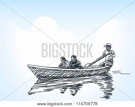 Sketch of tourists on rowing boat, Hand drawn illustration