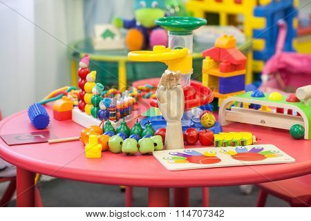 Toys On A Table In The Children's Playroom