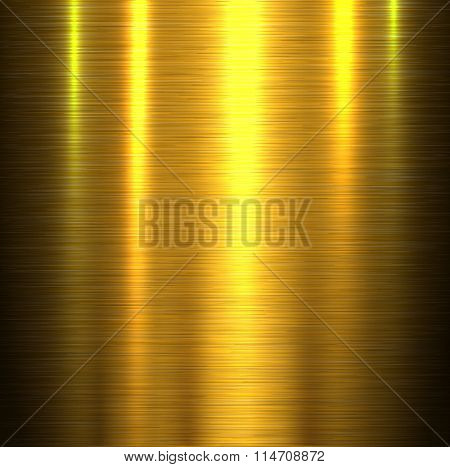 Metal texture background, shiny gold brushed metallic texture plate, vector illustration.